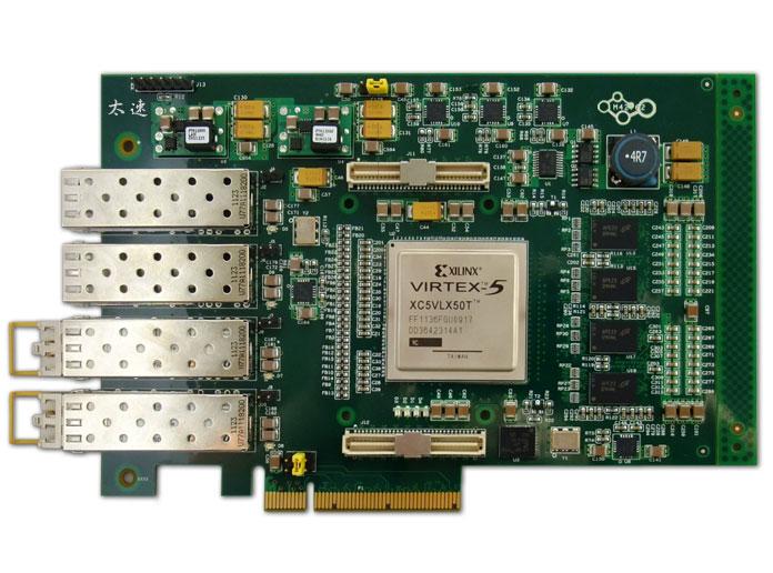 Xilinx,4路光纤卡,Net FPGA,四路光纤千兆网络,Virtex-5VLXT,数字信号处理,高速数据采集,图像数据采集,高速串行通讯接口,PCIe DMA,MSI中断,FPGA协处理卡